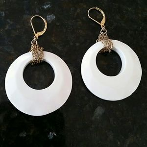 White and gold retro earrings